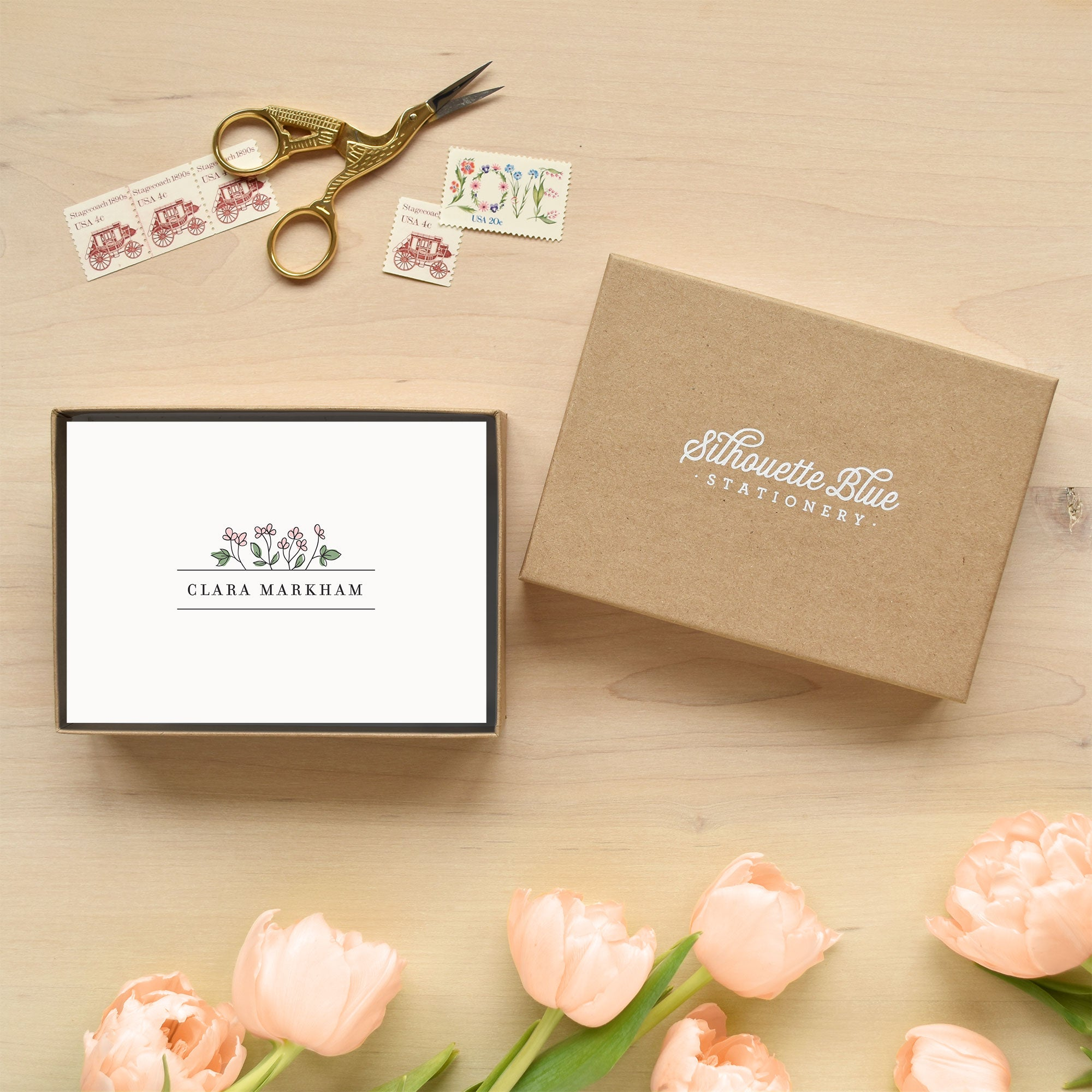 Begonia Personalized Stationery