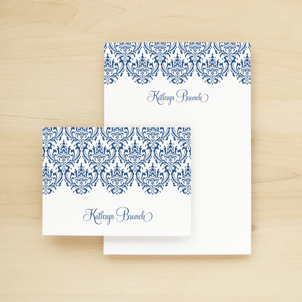 Damask Personalized Stationery and Notepad Bundle