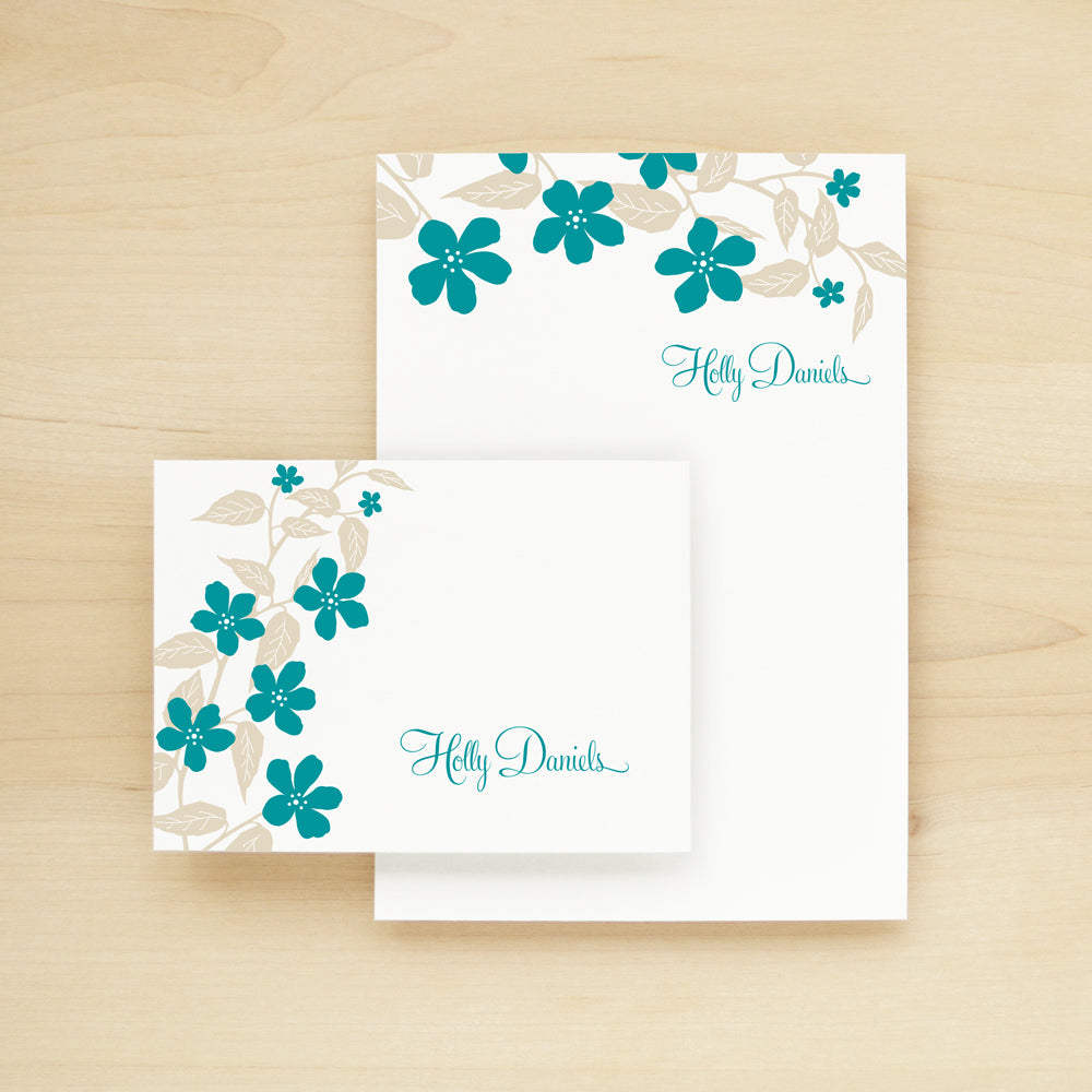 Flora Personalized Stationery and Notepad Bundle