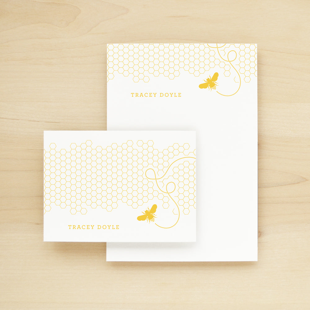 Honey Personalized Stationery and Notepad Bundle