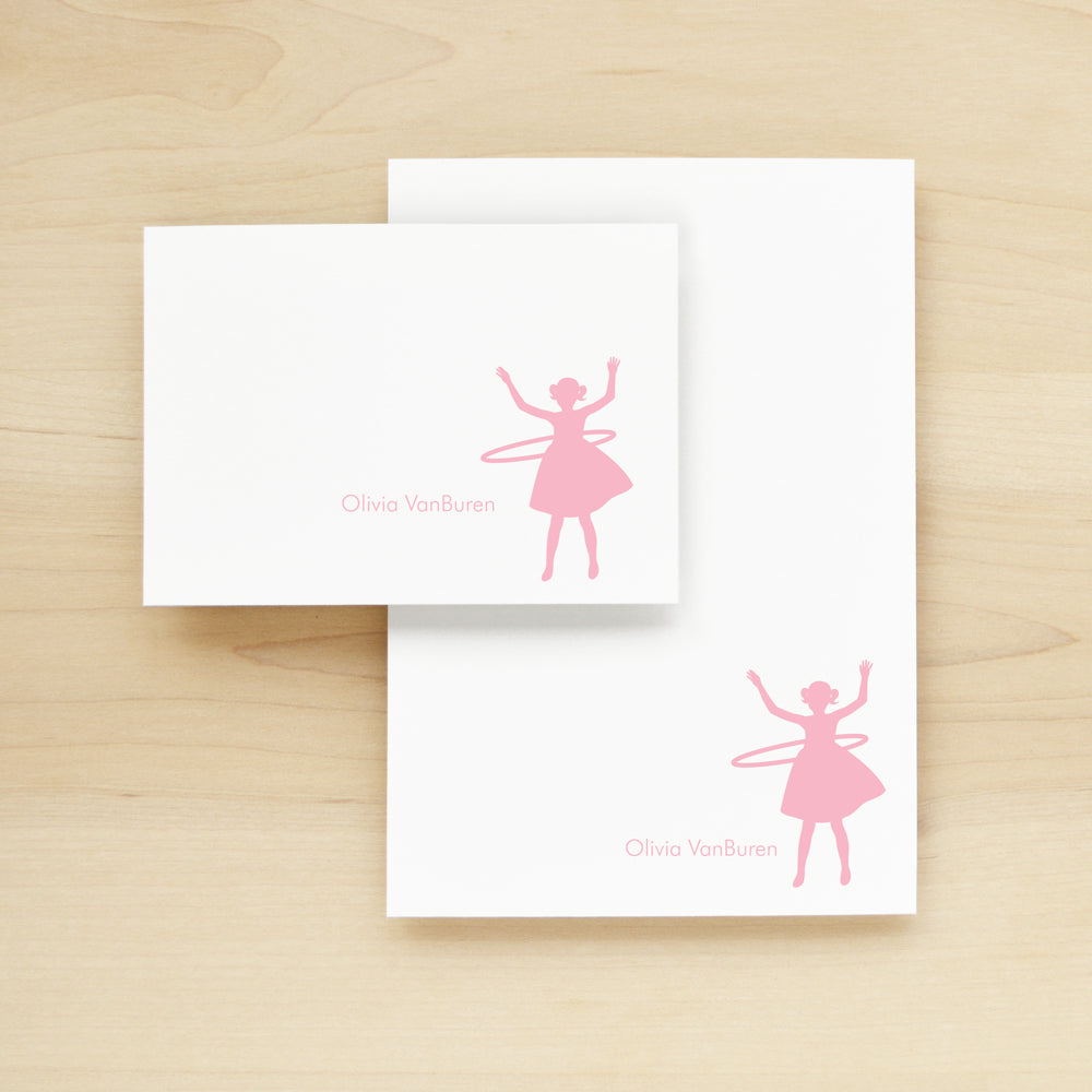Hula Hoop Personalized Stationery and Notepad Bundle