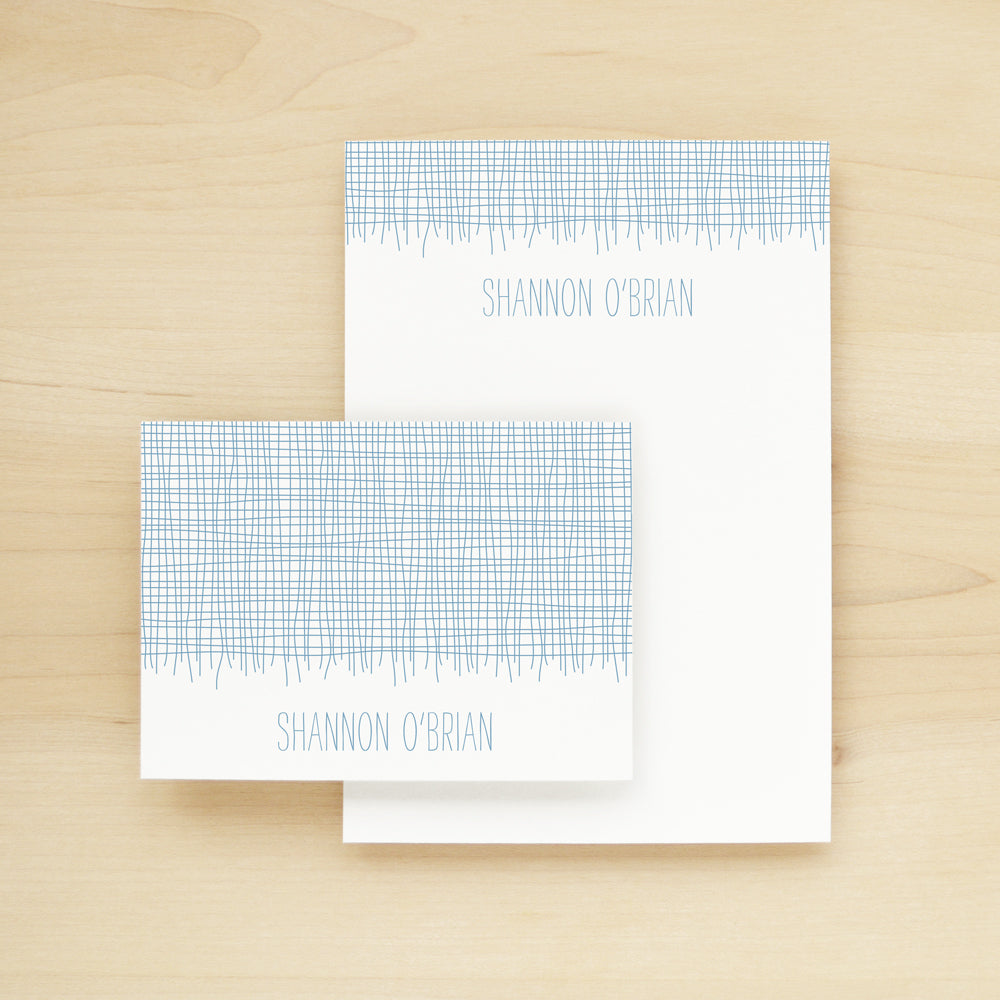 Linen Personalized Stationery and Notepad Bundle
