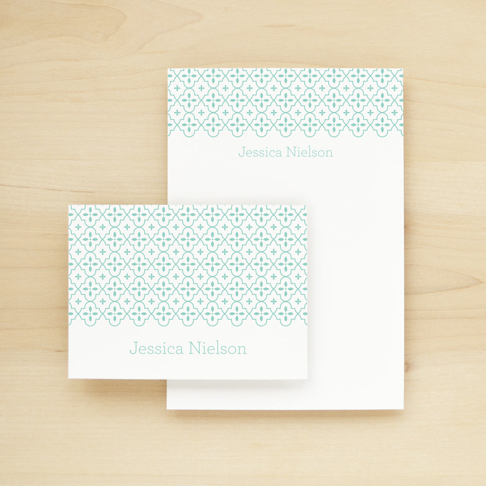Quatrefoil Personalized Stationery and Notepad Bundle