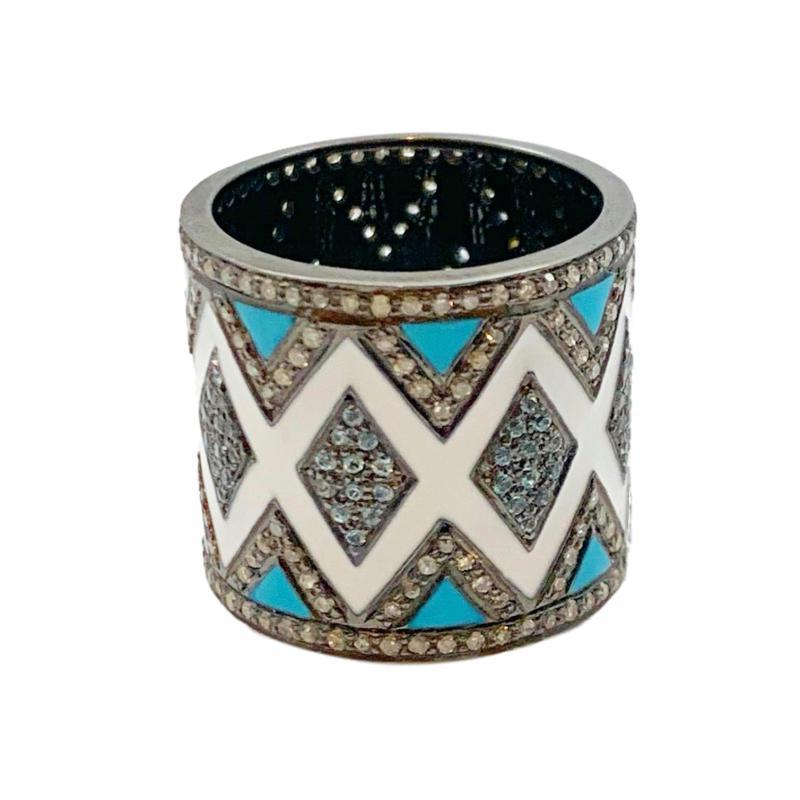 Enamel Pave Chevron Cigar Ring