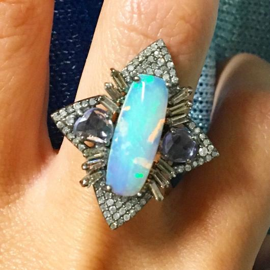 Opal & Sapphire North Star Ring