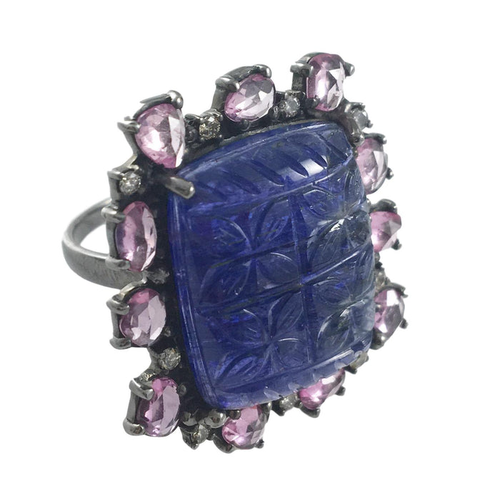 Carved Tanzanite & Pink Sapphire Ring