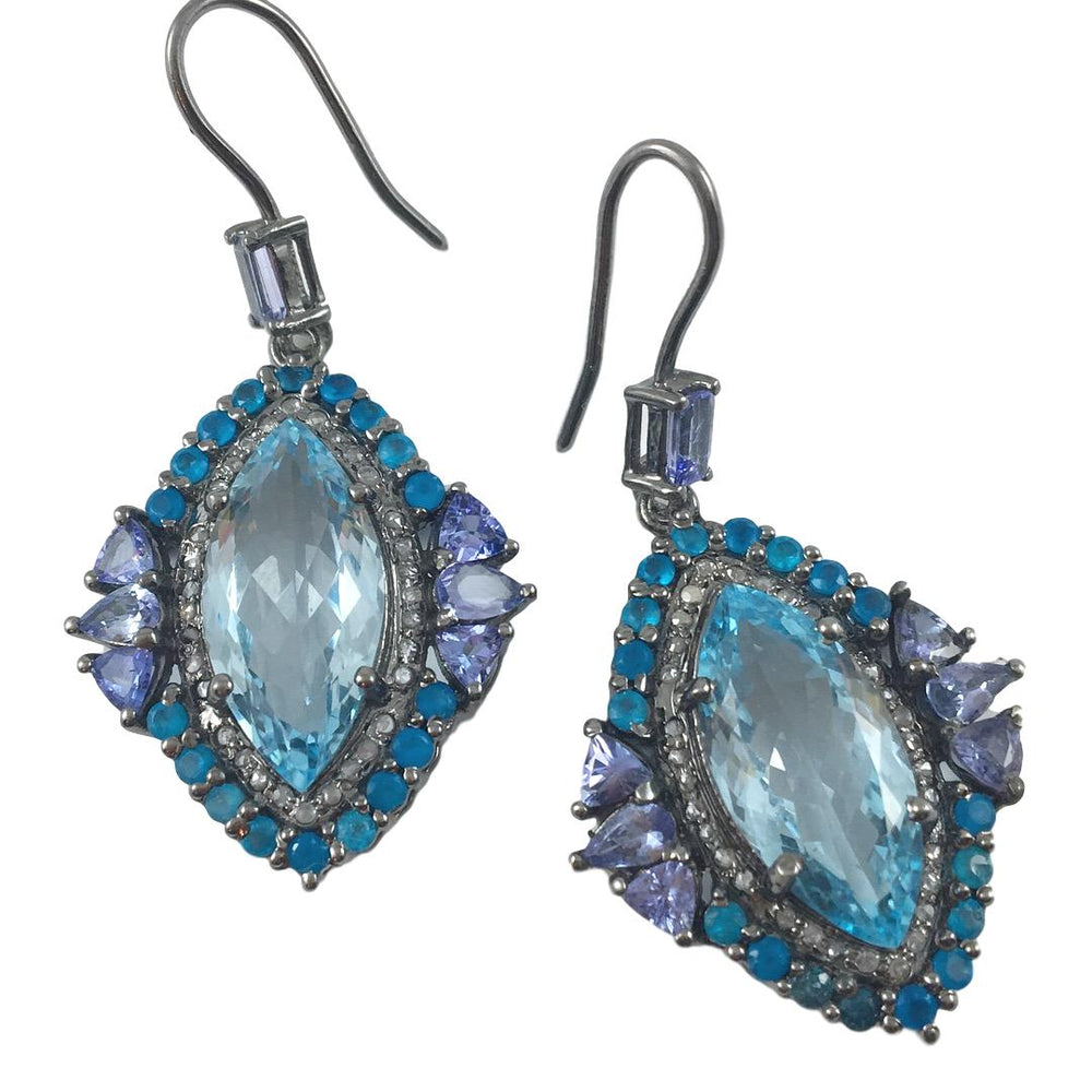 Blue Topaz Marquis Earrings