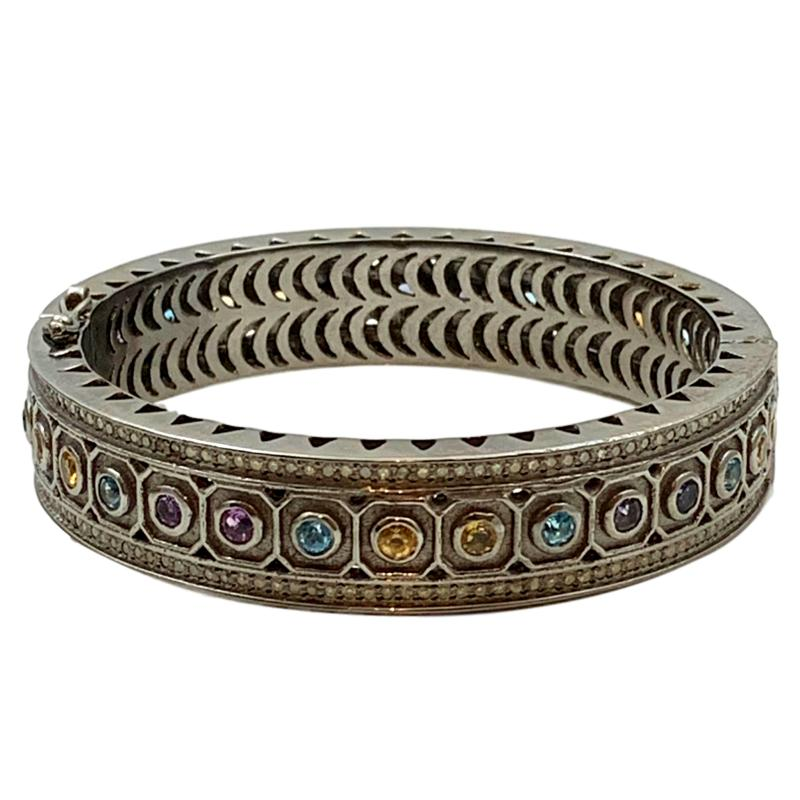 Pave Hexagon Cigar Bangle