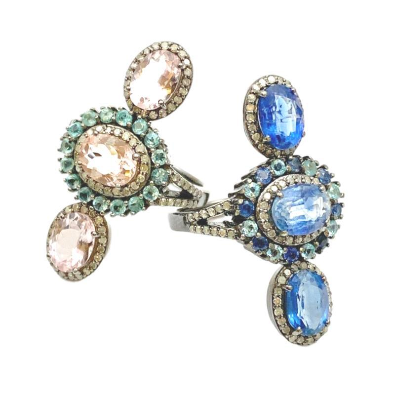 Triple Gemstone Halo Ring