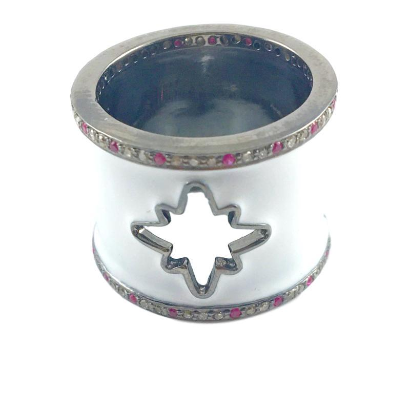 Diamond, Sapphire & Enamel Starburst Cut-out Cigar Ring