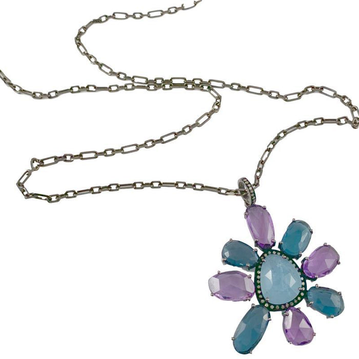 Multi Slice Flower with Diamonds on Oxidized Sterling Chain