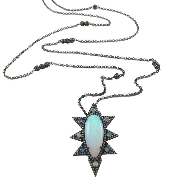 Opal Spike Pendant on Pave Diamond and Sterling Chain