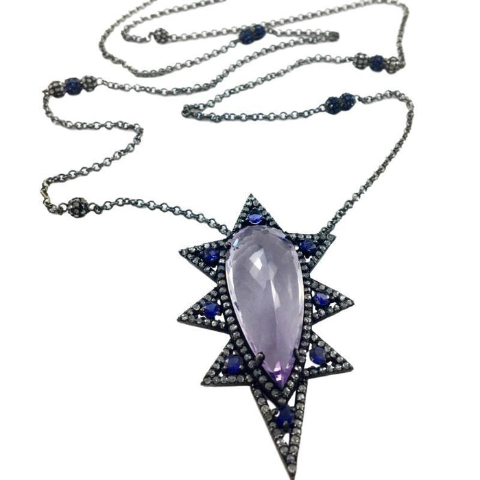 Pink Amethyst Spike Pendant with Iolite Accents on Pave Diamond/ Blue Sapphire and Sterling Chain