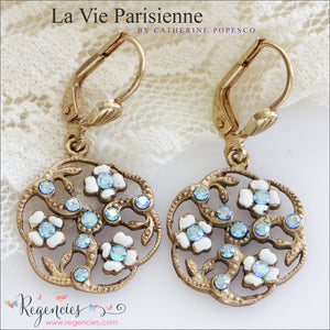 Catherine Popesco La Vie Parisienne French Enamel Swarovski Earrings