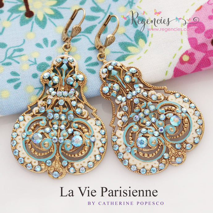 NEW! La Vie Parisienne by Catherine Popesco French Enamel Swarovski Earrings