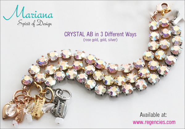Mariana Crystal AB Swarovski Bracelet in 3 Different Metal Finishes