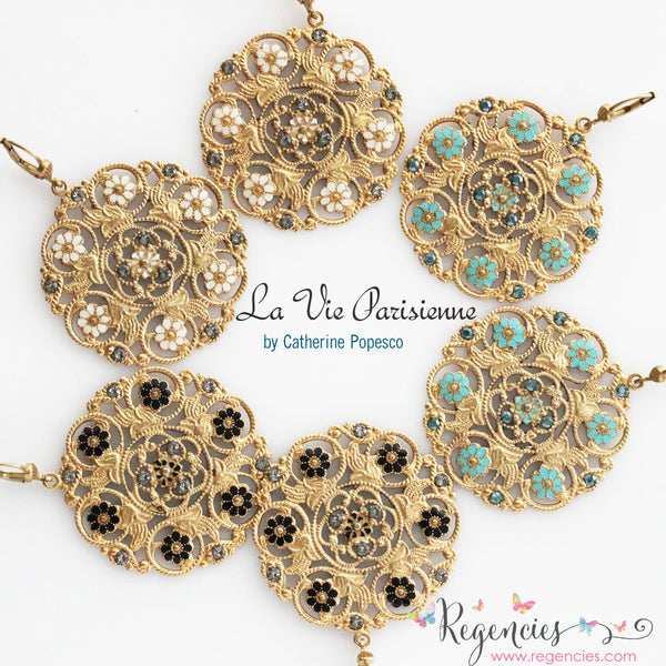 Catherine Popesco Enamel Flower Medallion Earrings