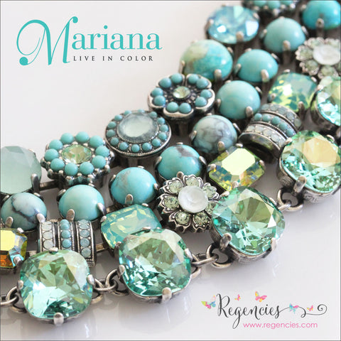 Mariana Jewelry Turquoise Pacific Blue Green Swarovski Crystals