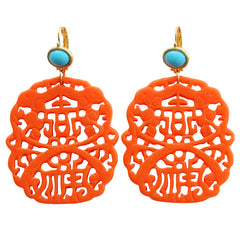 Kenneth Jay Lane Carved Statement Oriental Faux Coral Turquoise Resin Pierced Earrings 7834ETLC