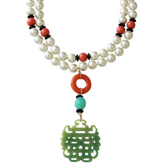 Kenneth Jay Lane 2 Row Faux Glass Pearl Coral Carved Jade Pendant Necklace $100.00