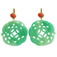 Kenneth Jay Lane Carved Round Oriental Faux Jade Coral Resin Pierced Earrings 8860ELCJ $50.00