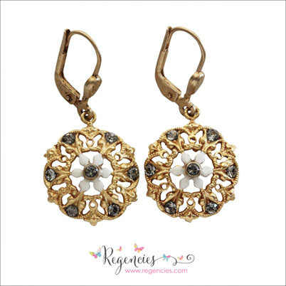 La Vie Parisienne by Catherine Popesco Enamel Swarovski Flower French White Earrings