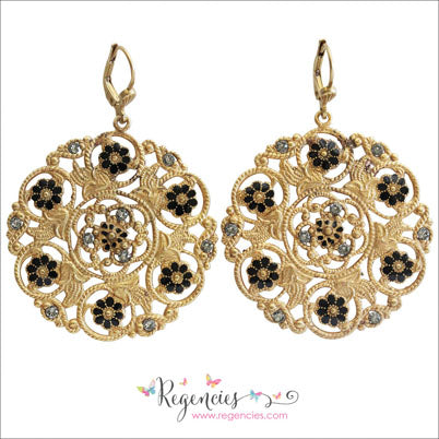 29d5a0d6b La Vie Parisienne by Catherine Popesco Enamel Swarovski Flower Medallion  Earrings ...