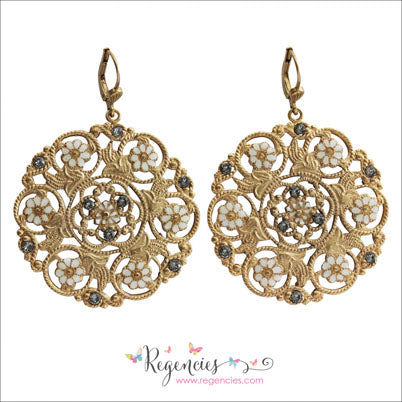 La Vie Parisienne by Catherine Popesco Enamel Swarovski Flower White Medallion Earrings