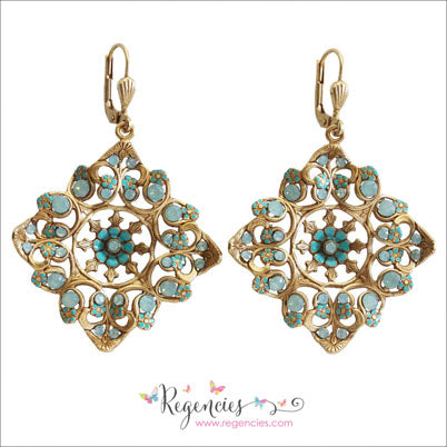 dfc5e1062 La Vie Parisienne by Catherine Popesco Enamel Swarovski Square Filigree  French Earrings ...