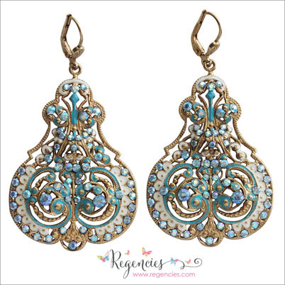 La Vie Parisienne by Catherine Popesco Enamel Contessa Ornate Chandelier Earrings 3012G
