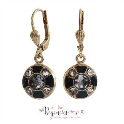 d3383fd30 ... La Vie Parisienne by Catherine Popesco Enamel Swarovski Round Black  Earrings