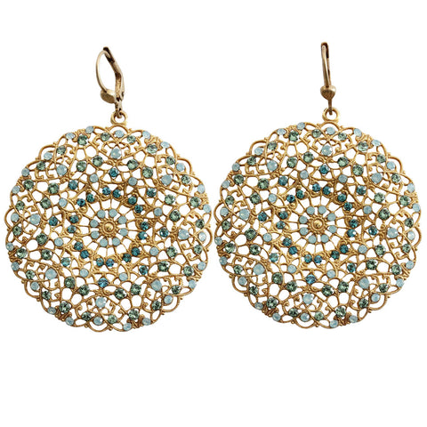 Catherine Popesco 14k Gold Plated Filigree Round Large Lace Medallion Earrings, 9702BG Pacific Opal