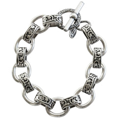 "Catherine Popesco Sterling Silver Plated Scroll Link Chain Bracelet, 7"" 1714"