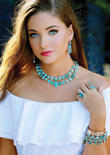 Mariana Jewelry Turquoise Blue Statement Earrings Necklace Ring Bracelet Model Set