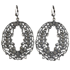 Catherine Popesco La Vie Parisienne Ornate Open Hoop Crystal Earrings