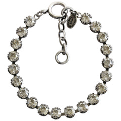 "Catherine Popesco Sterling Silver Plated Crystal Tennis Bracelet, 7.5"" 1694 Shade"