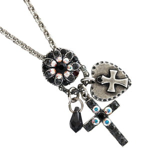 "Mariana Silver Plated Charm Blossom Cross Heart Pendant Swarovski Crystal Necklace, 25"" Tuxedo 52021/3 3701"