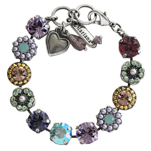 "Mariana Silver Plated Large Flower Shapes Swarovski Crystal Bracelet, 7"" Iris 4084 1327"