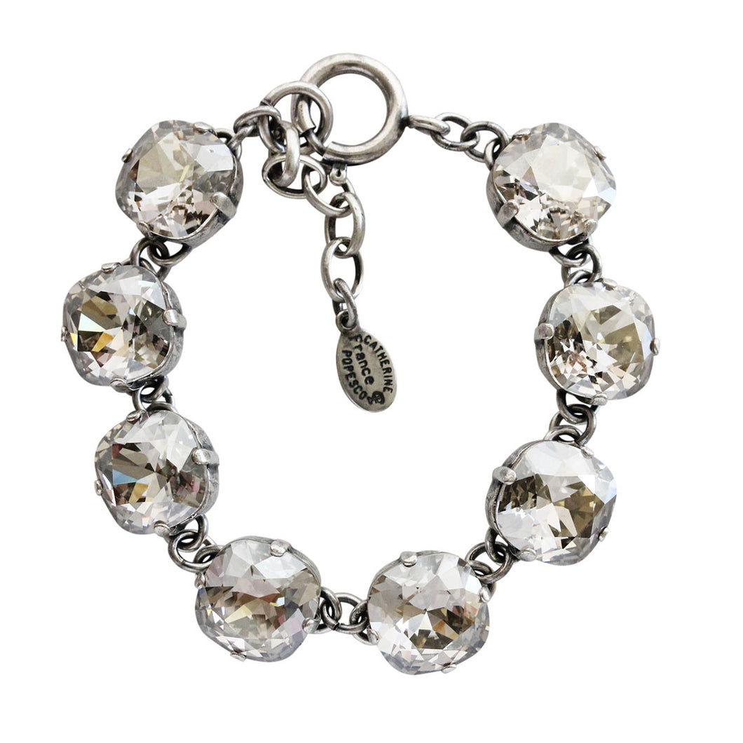 Catherine Popesco Sterling Silver Plated Crystal Round Bracelet, 1696 Shade