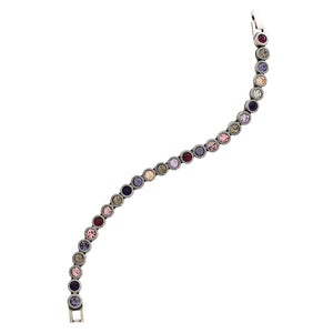"Patricia Locke Game, Set, Match Sterling Silver Plated Swarovski Tennis Bracelet, 7"" Purple Rain BR0205S"