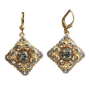 Catherine Popesco 14k Gold Plated Enamel Square Scroll Ornate Swarovski Earrings, 9594G Gray