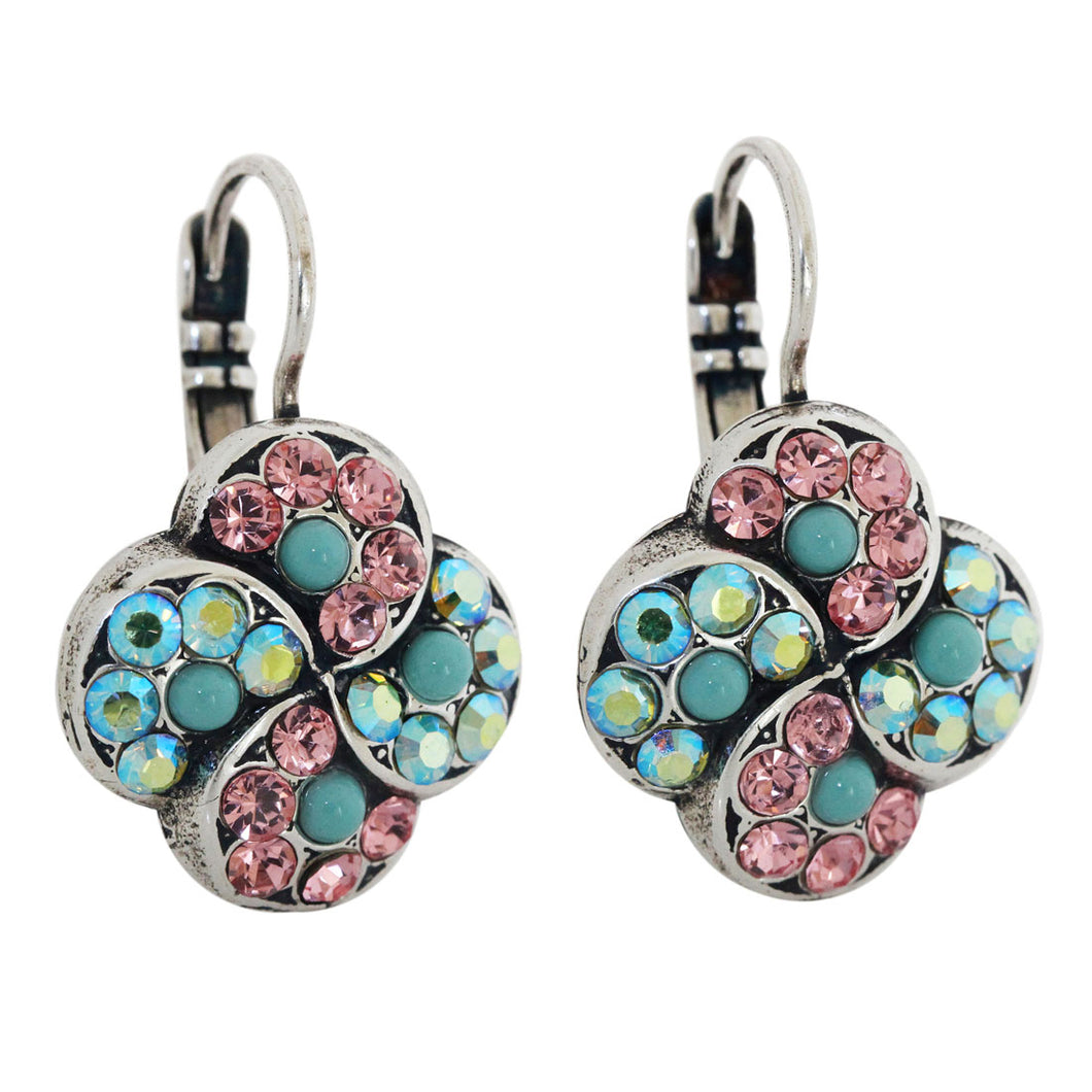 Mariana Summer Fun Pink Blue Iridescent Silver Plated Swirl Clover Mosaic Crystal Earrings, 1319/1 3711