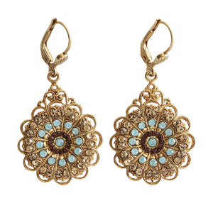 Catherine Popesco 14k Gold Plated Filigree Drop Crystal Earrings, 9844G Pacific Blue Colorado