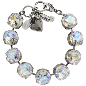 "Mariana Silver Plated Statement Classic Large Shapes Swarovski Crystal Bracelet, 7"" Crystal AB 4438 001AB"