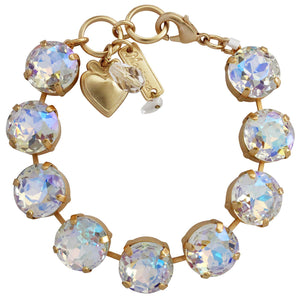"Mariana Gold Plated Statement Classic Large Shapes Swarovski Crystal Bracelet, 7"" Crystal AB 4438 001AByg"
