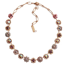 "Mariana Rose Gold Plated Flower Garden Swarovski Crystal Necklace, 17"" Pink Petal 3123 319"