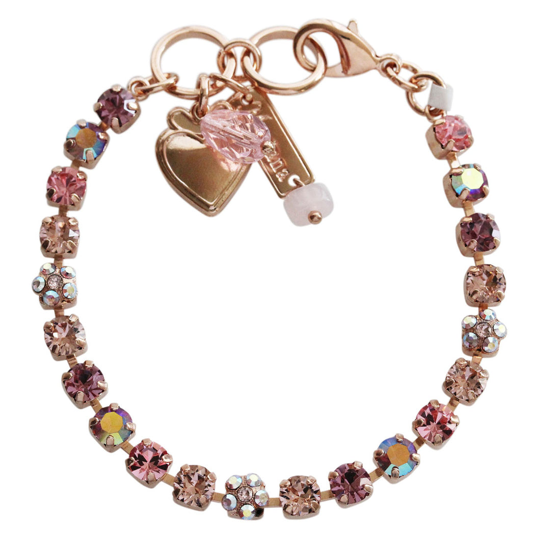 Mariana Flamingo Rose Gold Plated Pink 5mm Petite Floret Swarovski Crystal Tennis Bracelet, 7