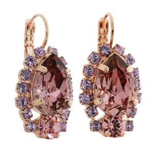 "Mariana ""Flamingo"" Rose Gold Plated Teardrop Surrounding Crystal Earrings, 1259/1 319mr"