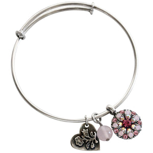 "Mariana Guardian Angel Swarovski Crystal Bangle Bracelet, 2.5"" Pink AB 4612M 2230"