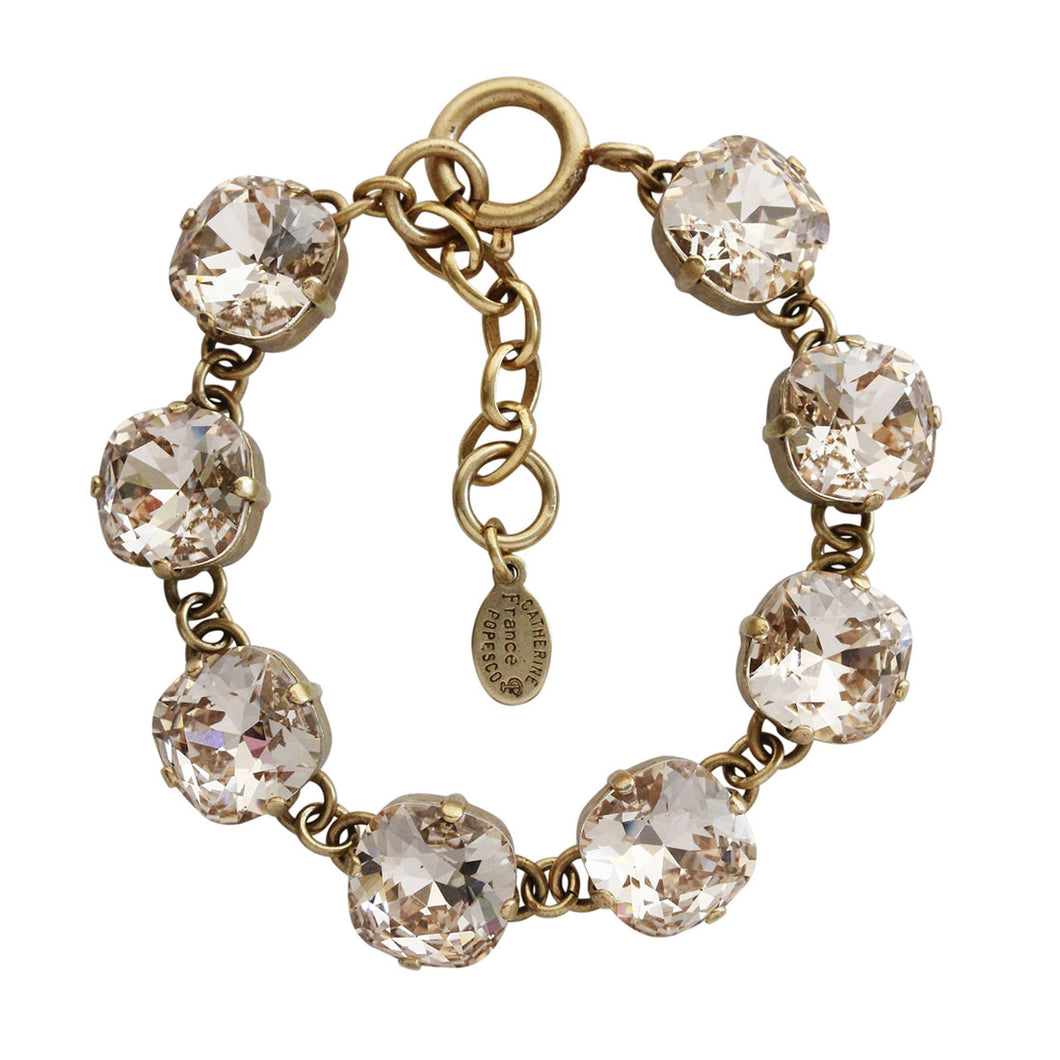Catherine Popesco 14k Gold Plated Crystal Round Bracelet, 1696G Silk (Nude) * Limited Edition *